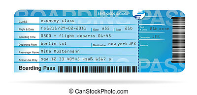 ticket - illustration of a flight ticket for a journey