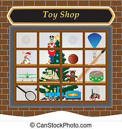 Toy Shop - A Toy Shop Window at Christmas with Toy...