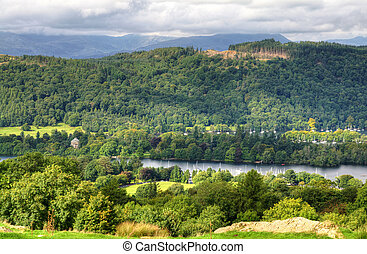 View of Windermere from above - View of wooded slopes above...