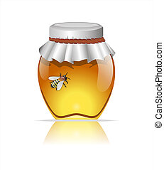 Honey and bee - Stock Image - Honey and bee on white...