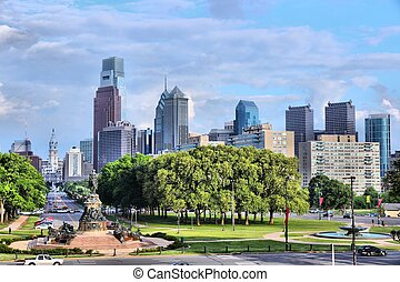 Philadelphia, Pennsylvania in the United States City skyline...