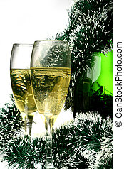 New Year card - New Years card with a champagne decoration