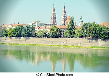 Szeged, Hungary City in Csongrad county Cityscape with Tisza...