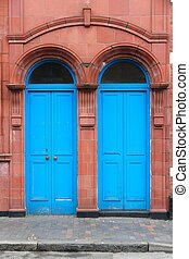 Birmingham Old blue doors in Jewellery Quarter West...