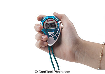 Blue Stopwatch - Blue digital stopwatch held by female hand...