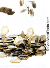 coins - falling coins on isolated background
