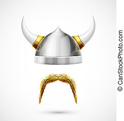 Viking accessories helmet and mustache, eps 10
