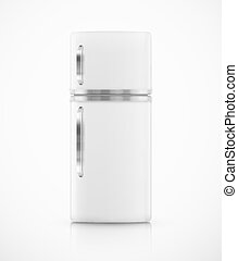 Isolated fridge - Isolated white fridge. Illustration...