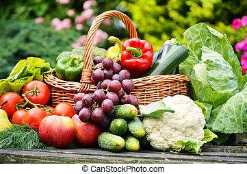 fresco, orgânica, legumes, vime, cesta, jardim