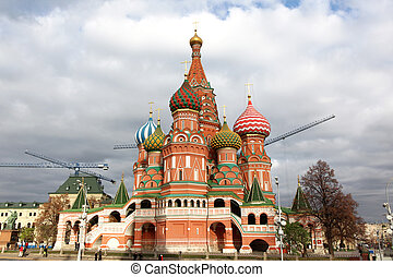Intercession Cathedral St Basils on Red square, Moscow,...
