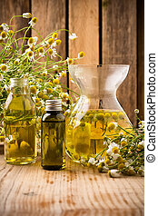 Chamomile. - Chamomile flowers on a wooden surface....