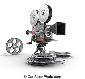 Vintage movie camera and film