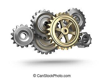 Steel gear wheels icon
