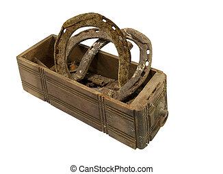 legno, Scatola, Ferri cavallo, vecchio