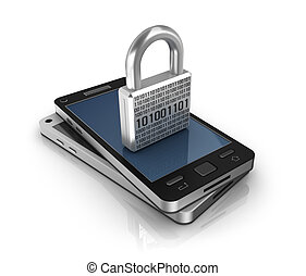 Smartphone with lock. Security concept