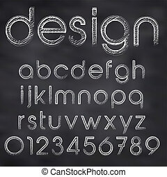 Abstract vector illustration of chalk sketched font on...