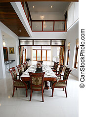 Dining room interior of a modern home.