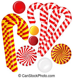Set with different red and white candies