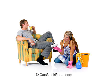 Lazy husband - Young couple, housewife attending to...