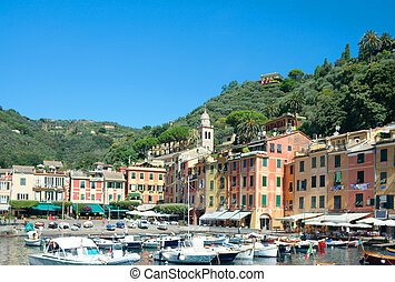View of Portofino, Liguria, Italy - View of marina,...