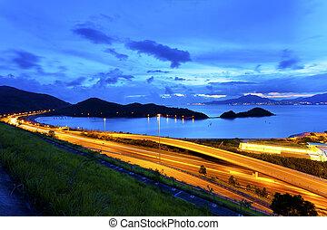 Flyover highway in Hong Kong at night