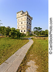 Kaiping Diaolou houses in Guangdong, China.