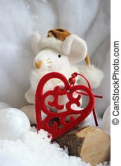 christmas mouse, heart - A white christmas toys, a mouse...