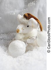 Christmas toy - A christmas mouse with a snowball, in the...