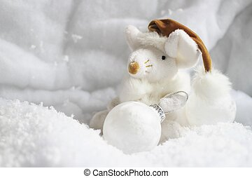 christmas mouse - A beautiful white christmas mouse in the...