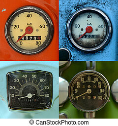 Set Of Vintage Speedometers - A Set Of Four Grungy, Vintage...