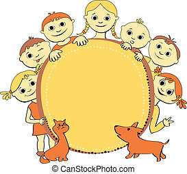 vector illustration of kids with banner - vector...