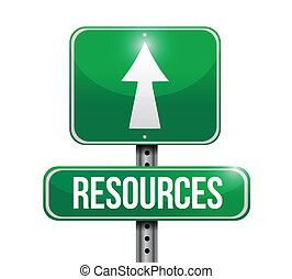 resources road sign illustration design over a white...