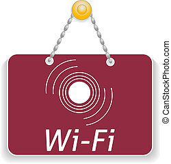 Shopping sign board with icon wi-fi