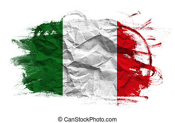 Italy flag on Crumpled paper texture. Old recycled paper...