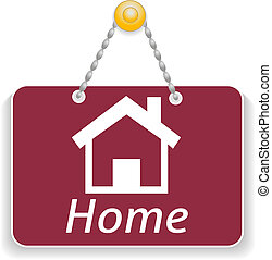 Shopping sign board with icon home