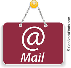 Shopping sign board with icon mail