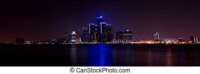 Detroit Skyline - A panoramic photo of the Detroit Skyline...
