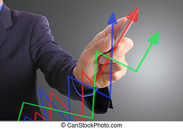 Businessman write graph business