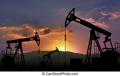 oil industry - oil field with pump jack , oil industry