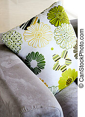 Cushions - Close-up of a colorful cushions on a sofa - home...