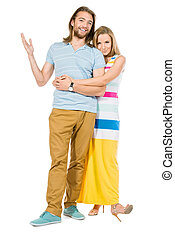 adult couple - Full length portrait of a beautiful happy...