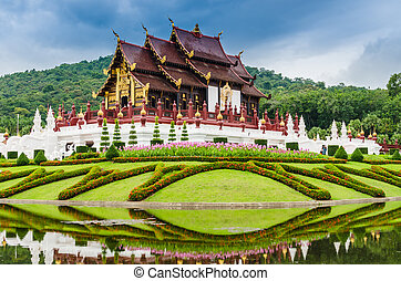 Traditional thai architecture in the Lanna style , Royal...