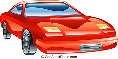 Glossy stylised sports car icon - A glossy stylised red...