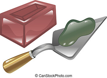 Brick mortar and trowel illustration - Red brick mortar and...