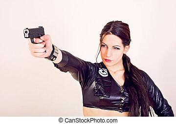 atraente, polícia, mulher