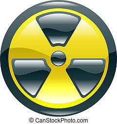 Glossy shint radiation symbol icon - A glossy shiny...