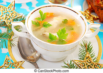 carp fish soup for christmas - carp fish soup with carrot...