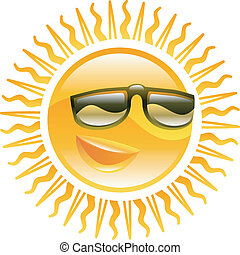 Smiling sun with sunglasses illustration - A smiling sun...
