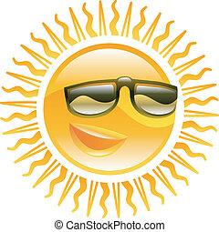 sonriente, sol, gafas de sol, Ilustración