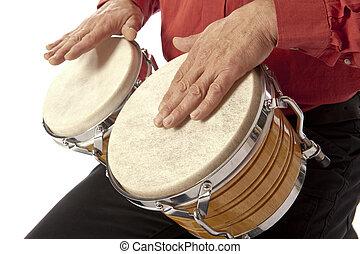 hombre, juego, bongo, Conjunto, el suyo, regazo